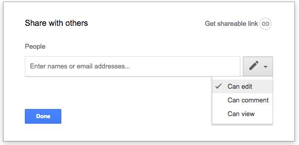 Client Questionnaire Google Doc Share settings