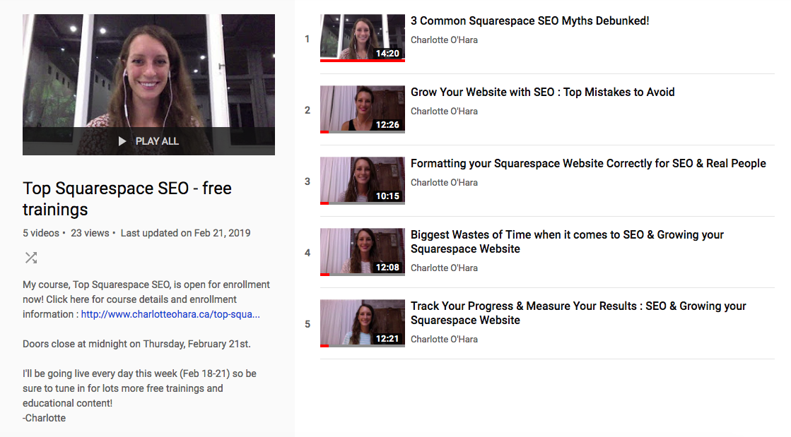 Top Squarespace SEO | Live Videos on Youtube Channel Playlist