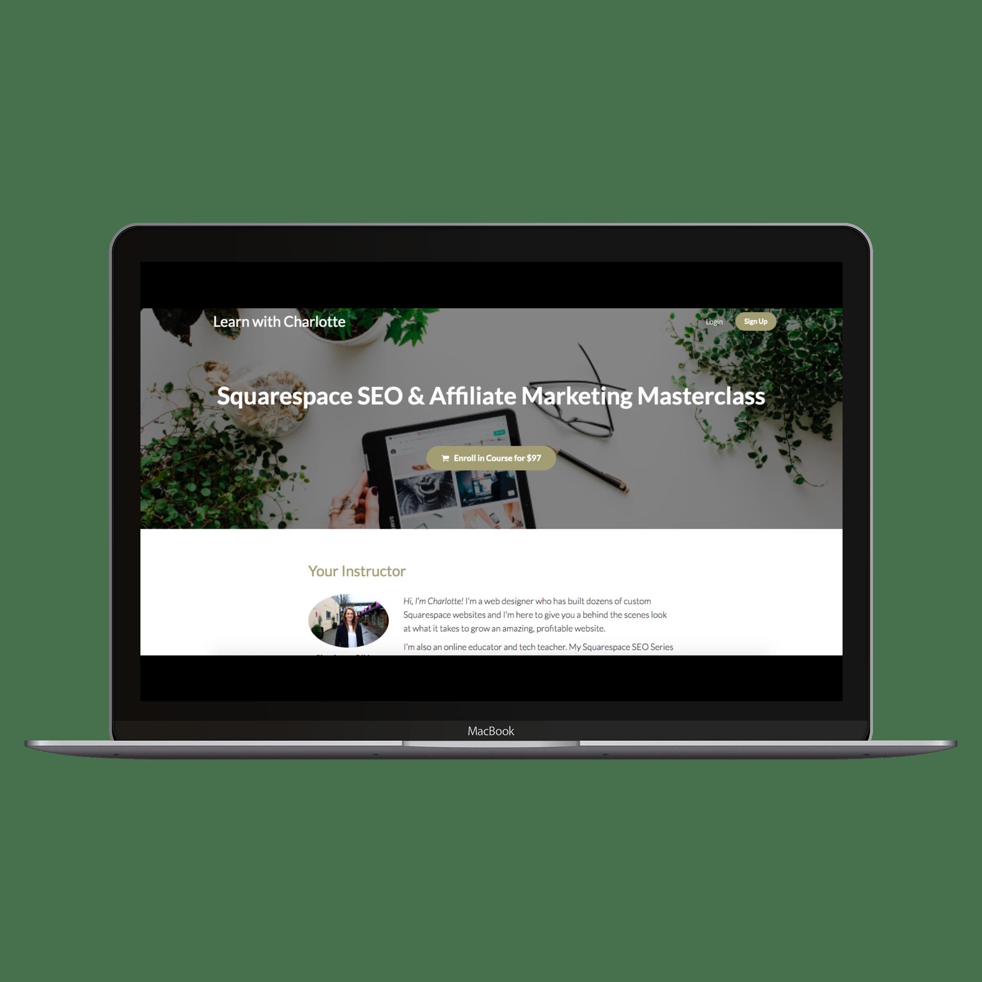 Squarespace SEO for affiliate marketing masterclass teachable mockup.png