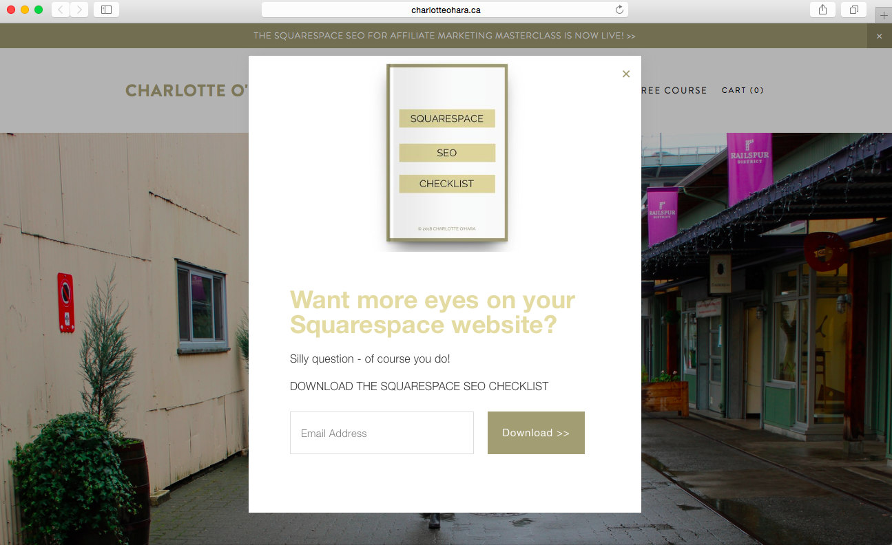 squarespace promotional popup on charlotte o'hara website | Squarespace SEO checklist