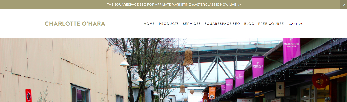 announcement bar on squarespace website | Charlotte O'Hara | charlotteohara.ca