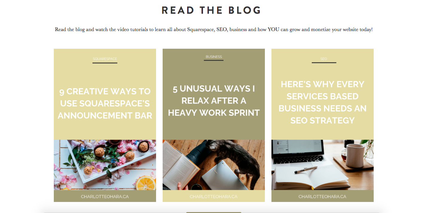 Blog feed on homepage of charlotteohara.ca   charlotte o'hara website