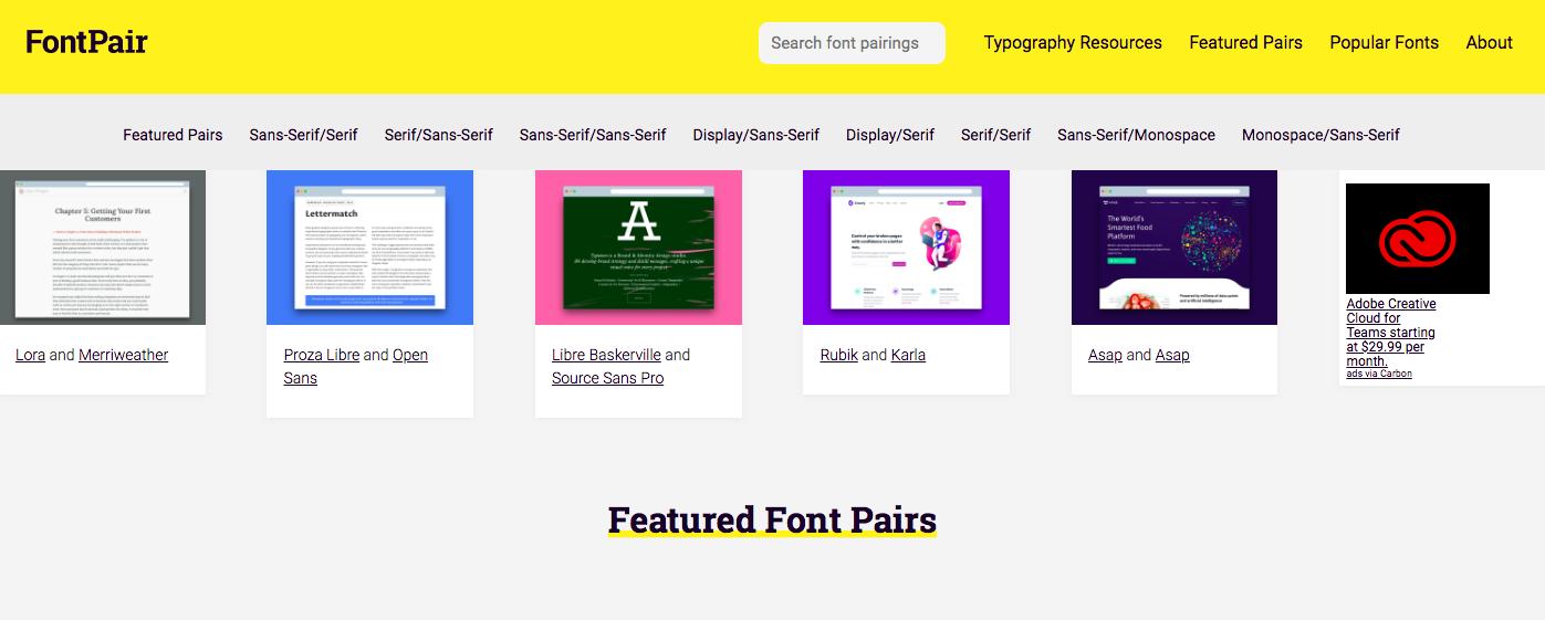 Fontpair.co homepage | font pairing generator