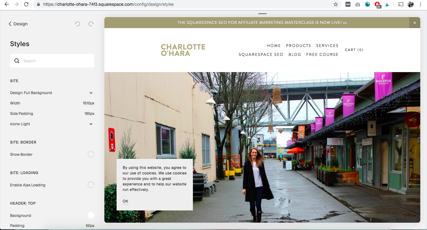 Charlotte O'Hara website site styles in Squarespace to customize Brine template