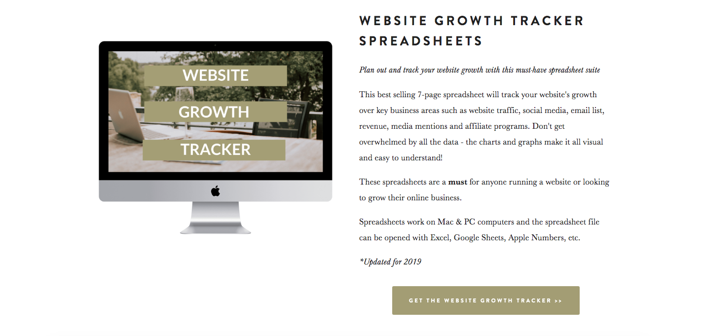 Example of button on website growth tracker spreadsheets product page
