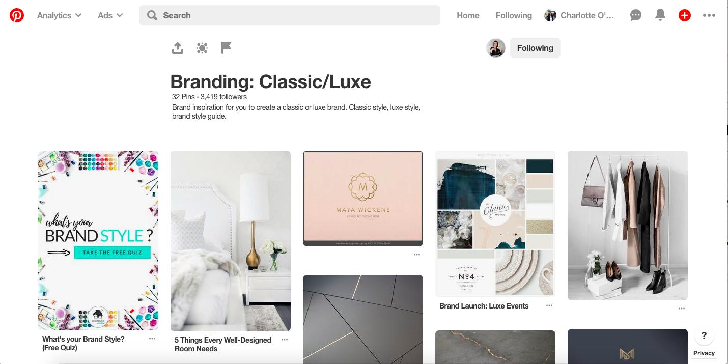 Pinterest brand inspiration board | classic luxe branding example | solopreneur sidekick