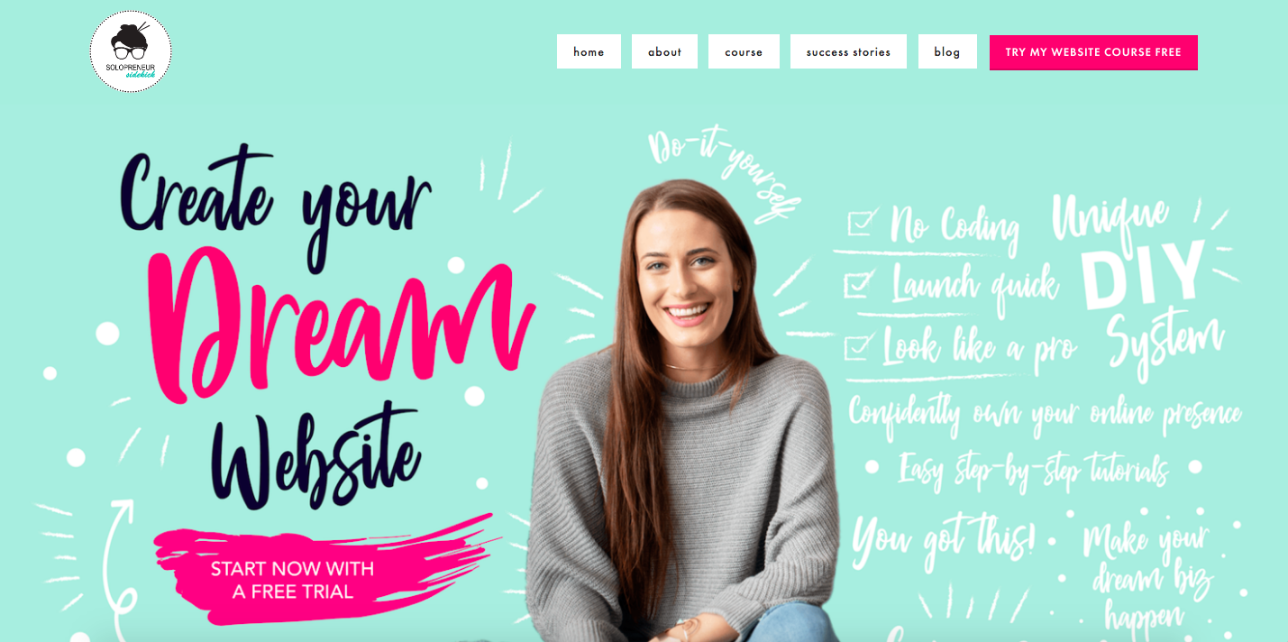 Solopreneur Sidekick homepage | branded and graphic elements example
