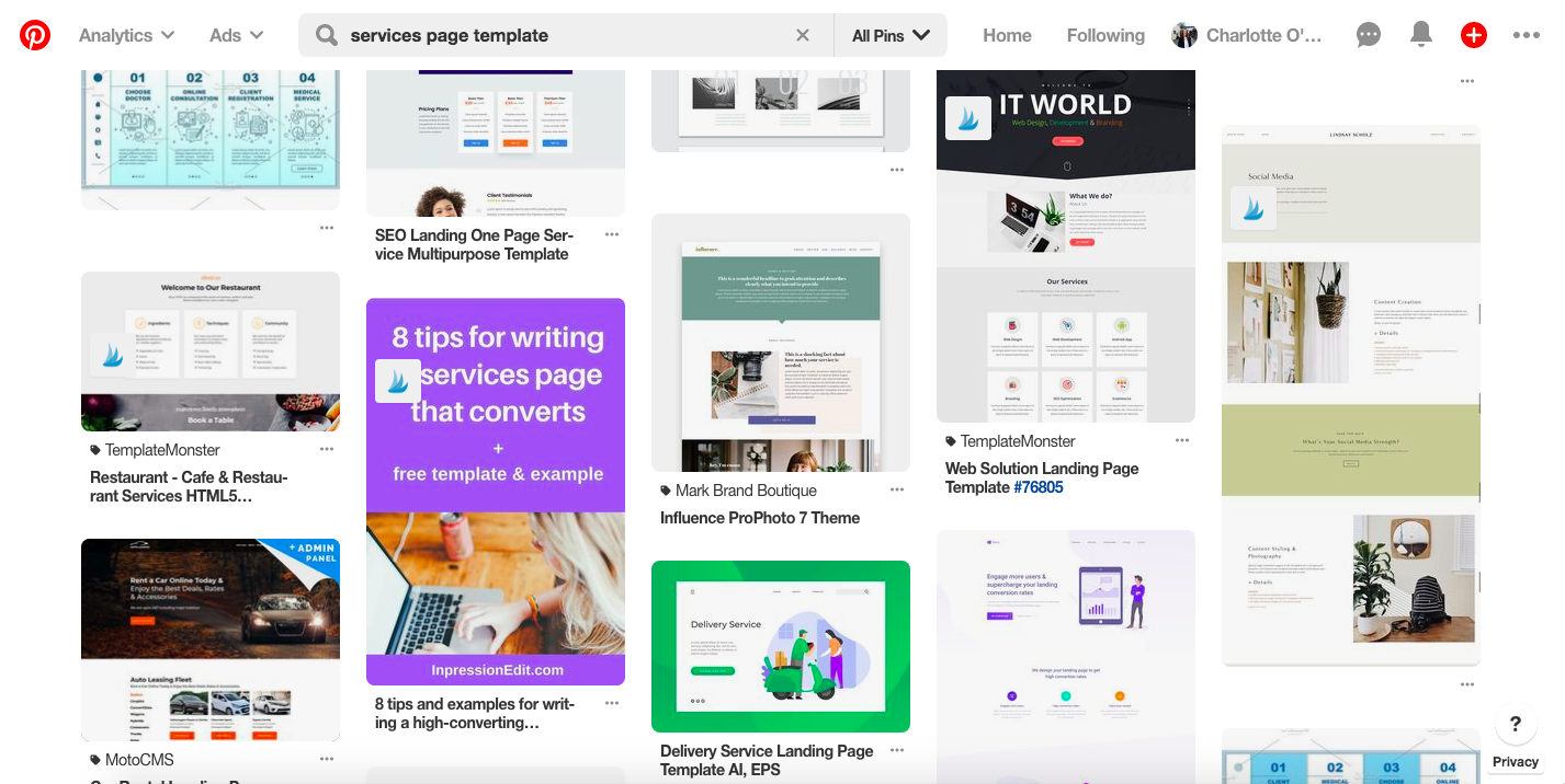 Pinterest Services Page Template