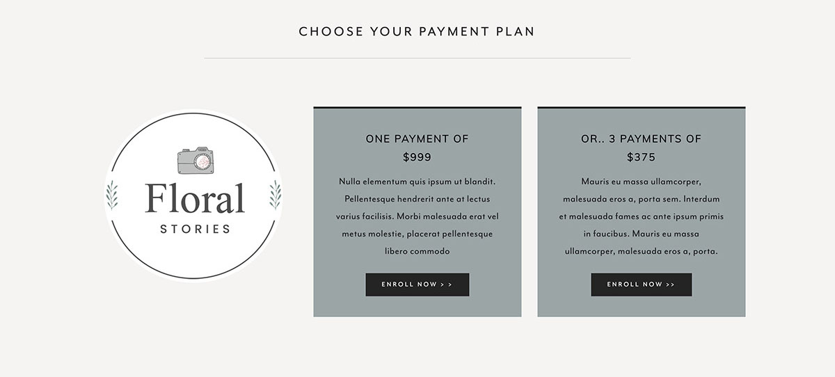Pricing table example for sales page in Squarespace
