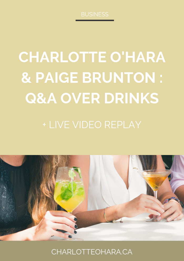 Paige Brunton Charlotte O'Hara  | Q&A over drinks live video replay