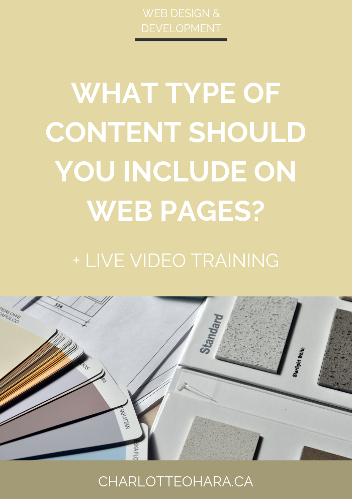 What type of content should you include on web pages | live video training extravaganza