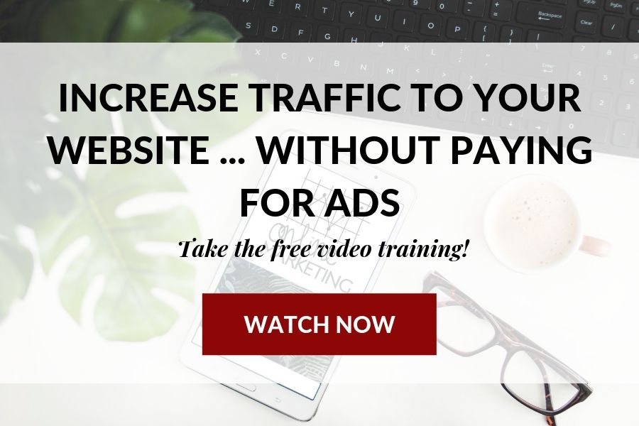 Free video training | 5 proven ways to increase website traffic without paying for ads |  mockup for homepage