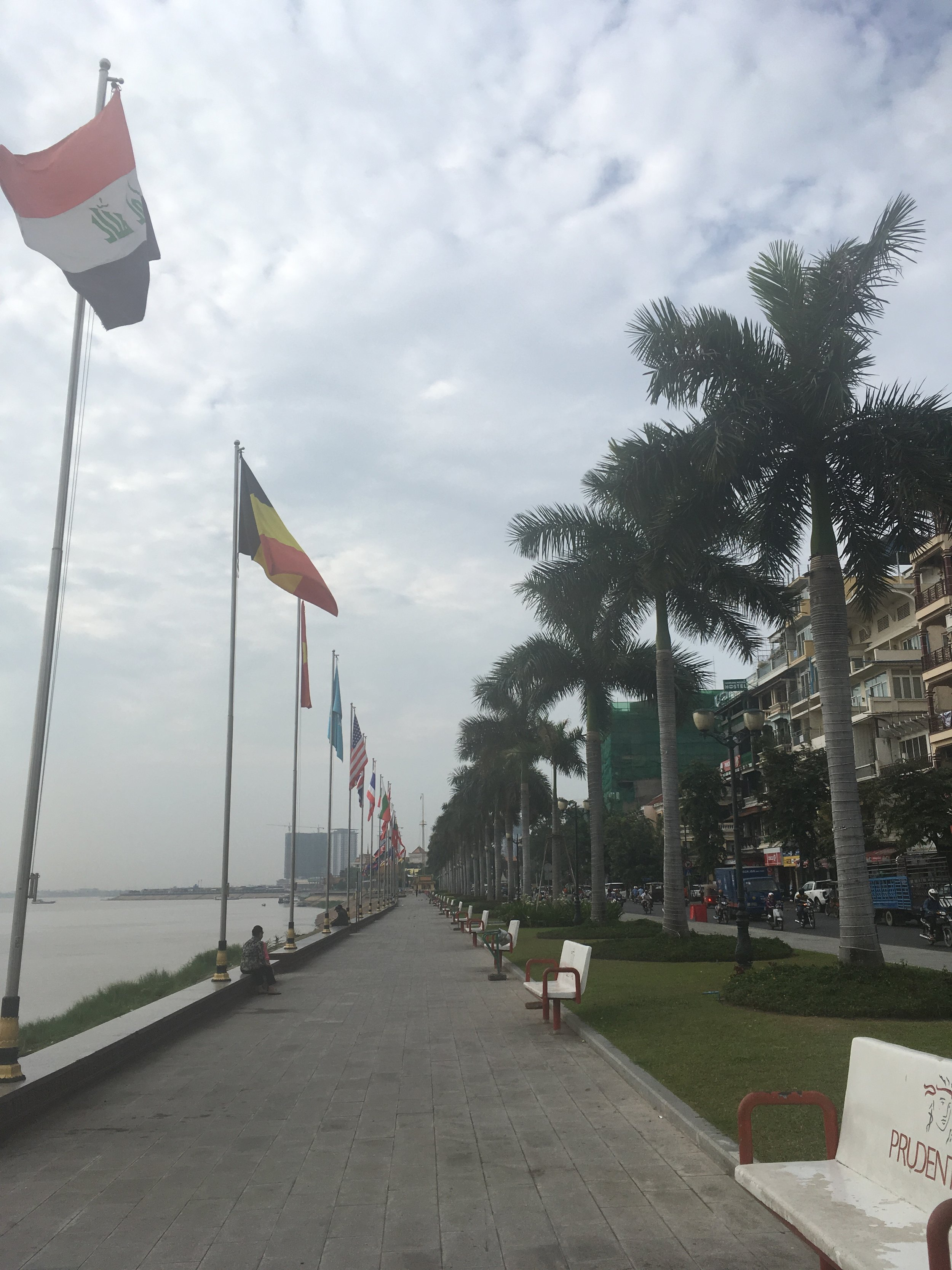 Out for an early morning run along the riverfront path in downtown Phnom Penh