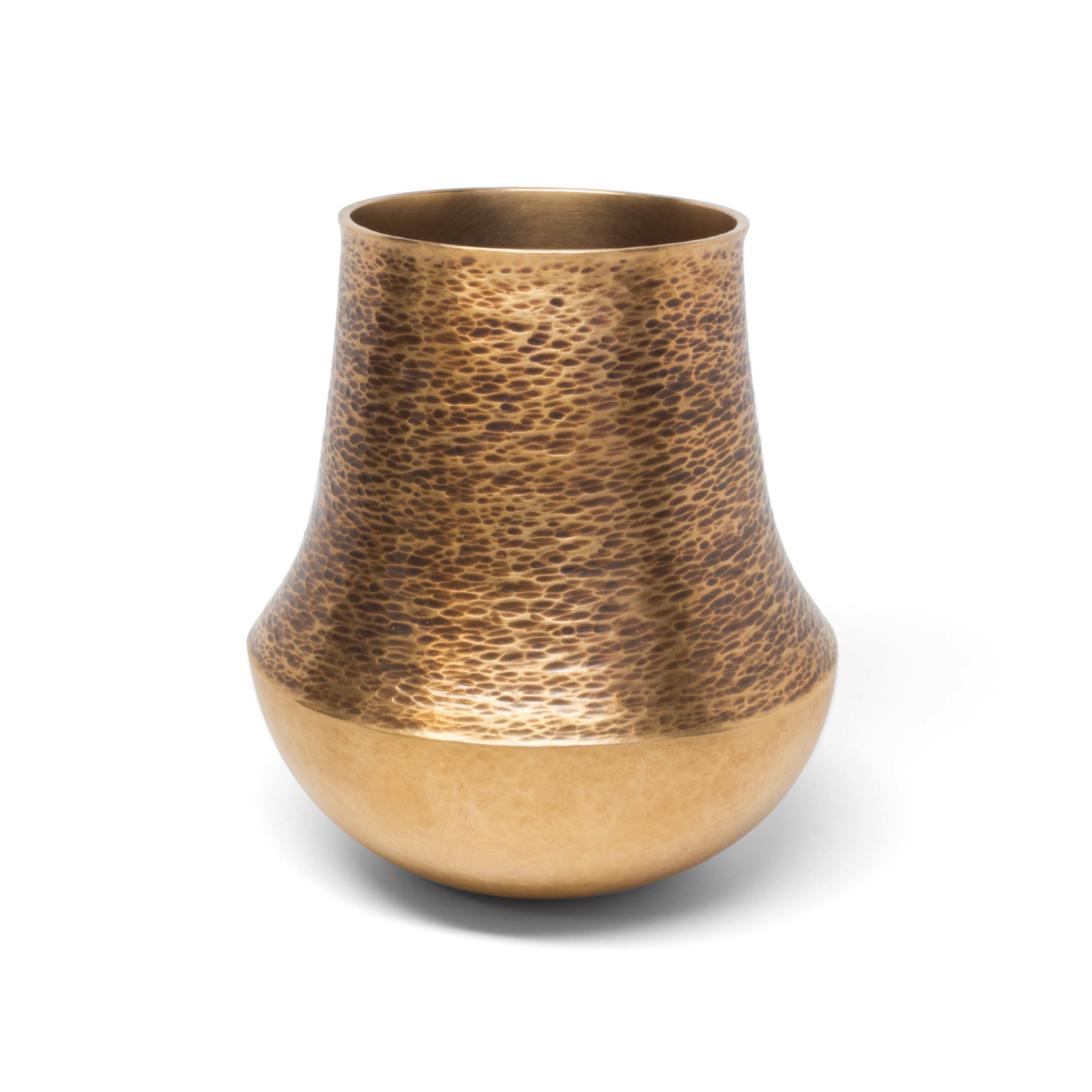 Brass Vase with Hammered Texture