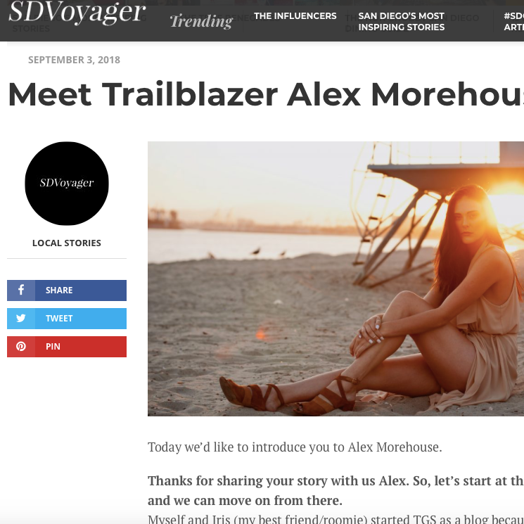Interview with SD Voyager - This interview is with CEO/Founder Alex Morehouse about the challenges of starting a business and about the different opportunities she's found being a female entrepreneur!Check It Out