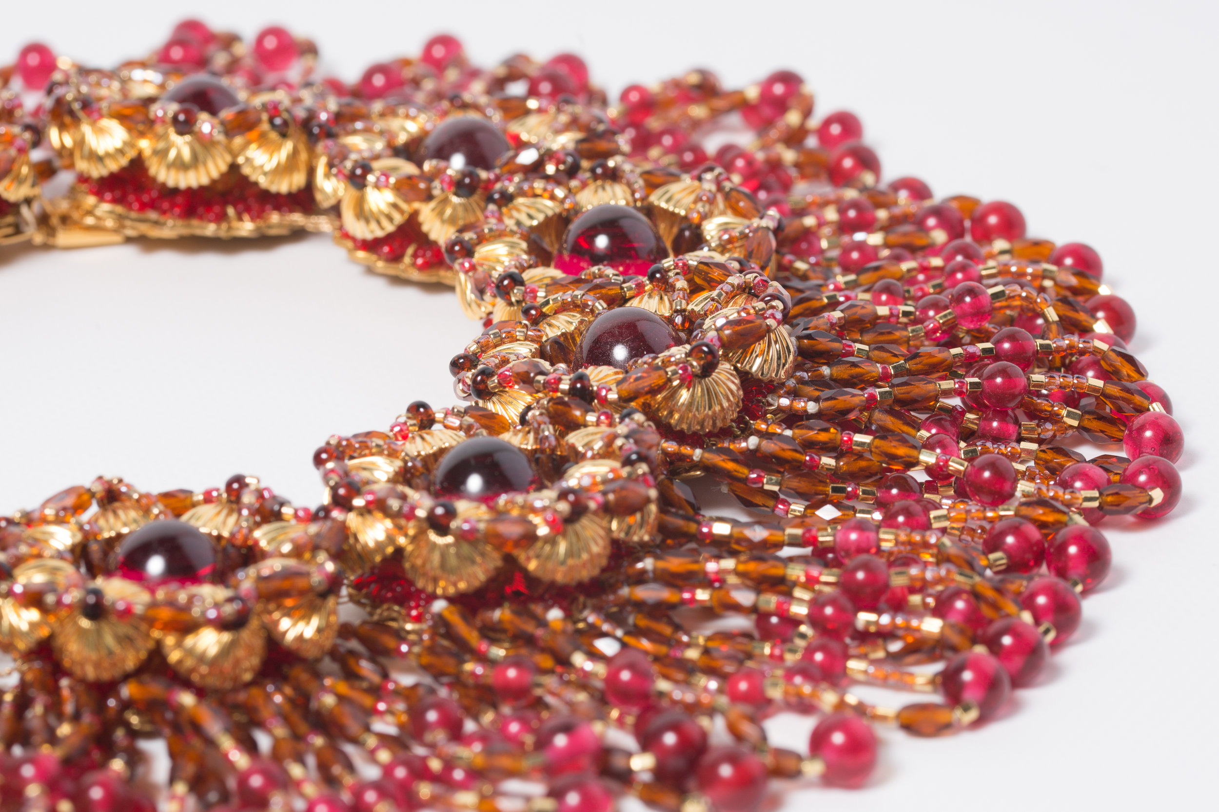 Jeweled Fringe Red  Prototype Bib Necklace c.1970's                                                    (AVAILABLE FOR PURCHASE)