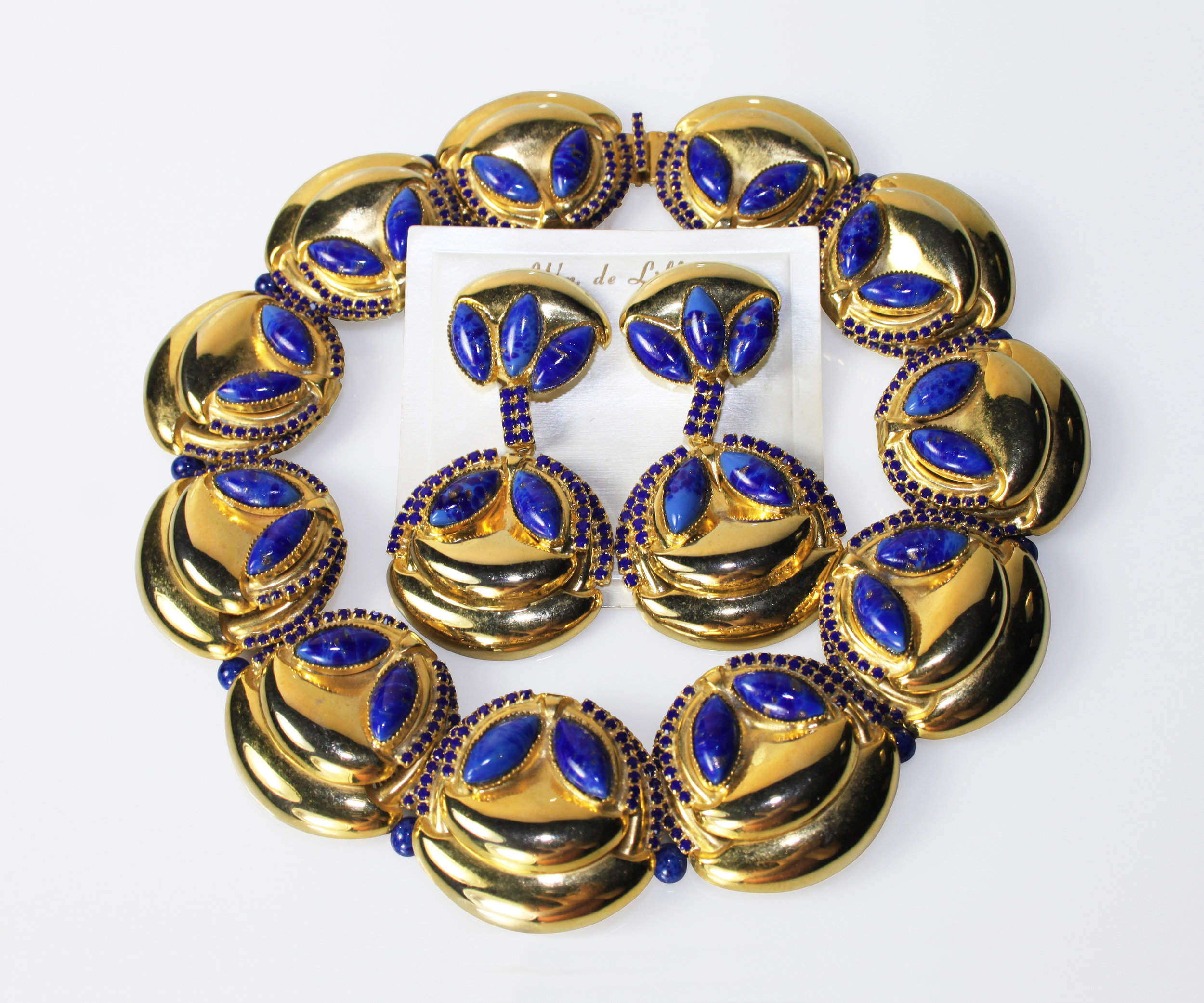 Jeweled Faux Lapis Shell Necklace and Earrings c.1970
