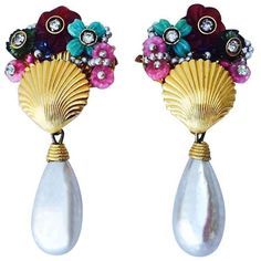 William De Lillo Tutti Frutti drop earrings, c.1969 featuring , swarovski crystals and large baroque pearls. For pricing and availability send us an email.