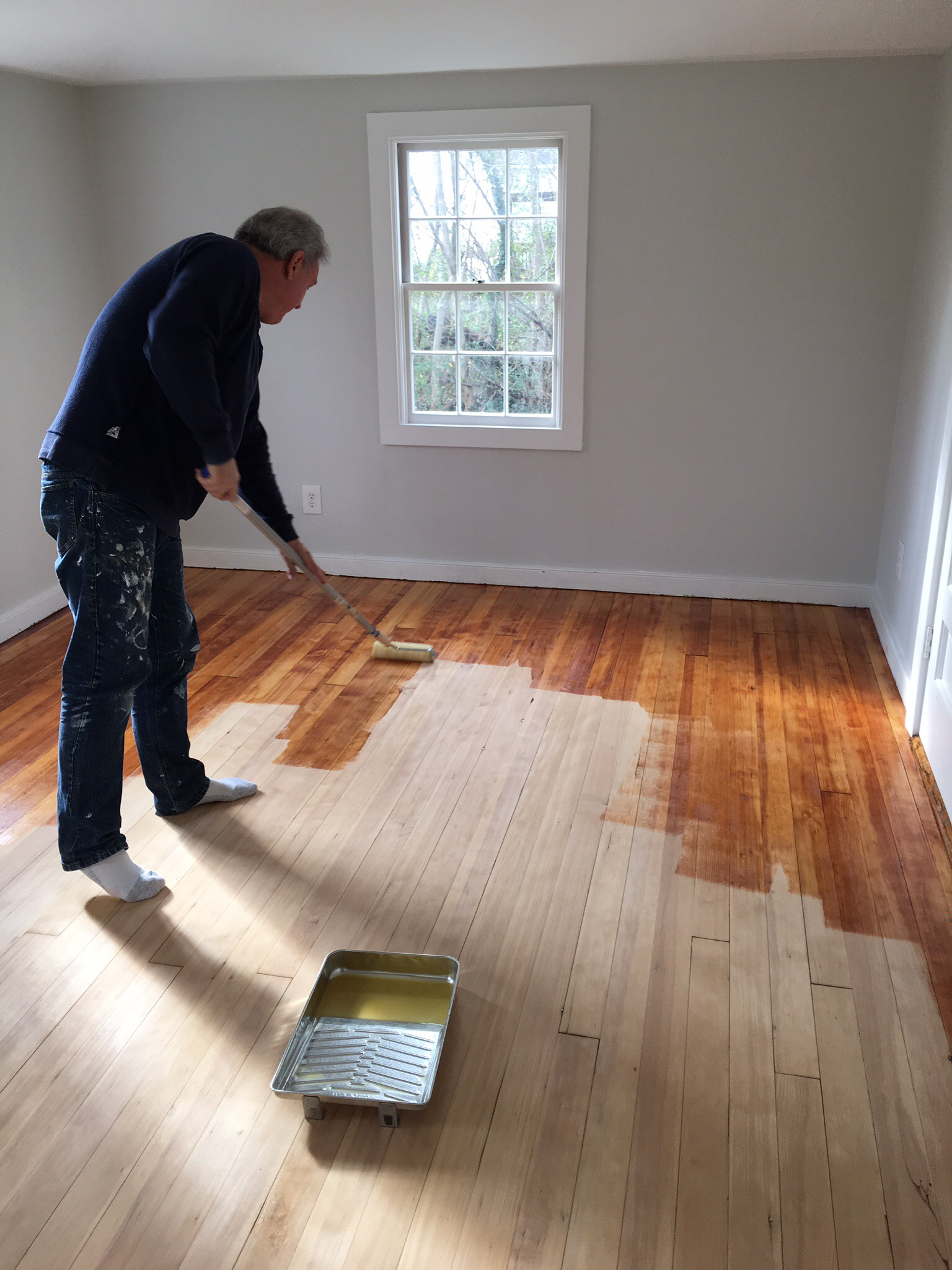 Finishing the wood floor in our master bedroom.