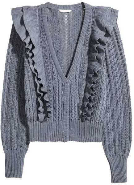Available Colors:Dusky blue  Available Sizes:2  Cardigan in textured-knit, cotton-blend fabric. Double layers of ruffles and concealed buttons at front. Long, wide sleeves, and ribbed cuffs and hem.