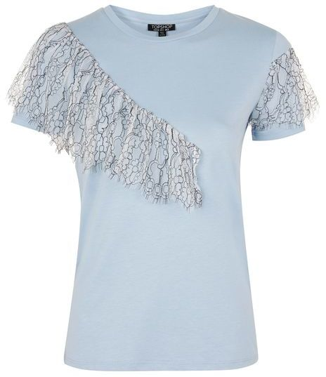 Available Colors:DUSTY BLUE  Available Sizes:2 ,4 ,6 ,8  Up-spec your basic t-shirt with a little lace ruffle detail. We love it with jeans for an updated casual style. 53% Modal, 47% Cotton. Machine wash.  Color: DUSTY BLUE  Code: 04R01LDBL