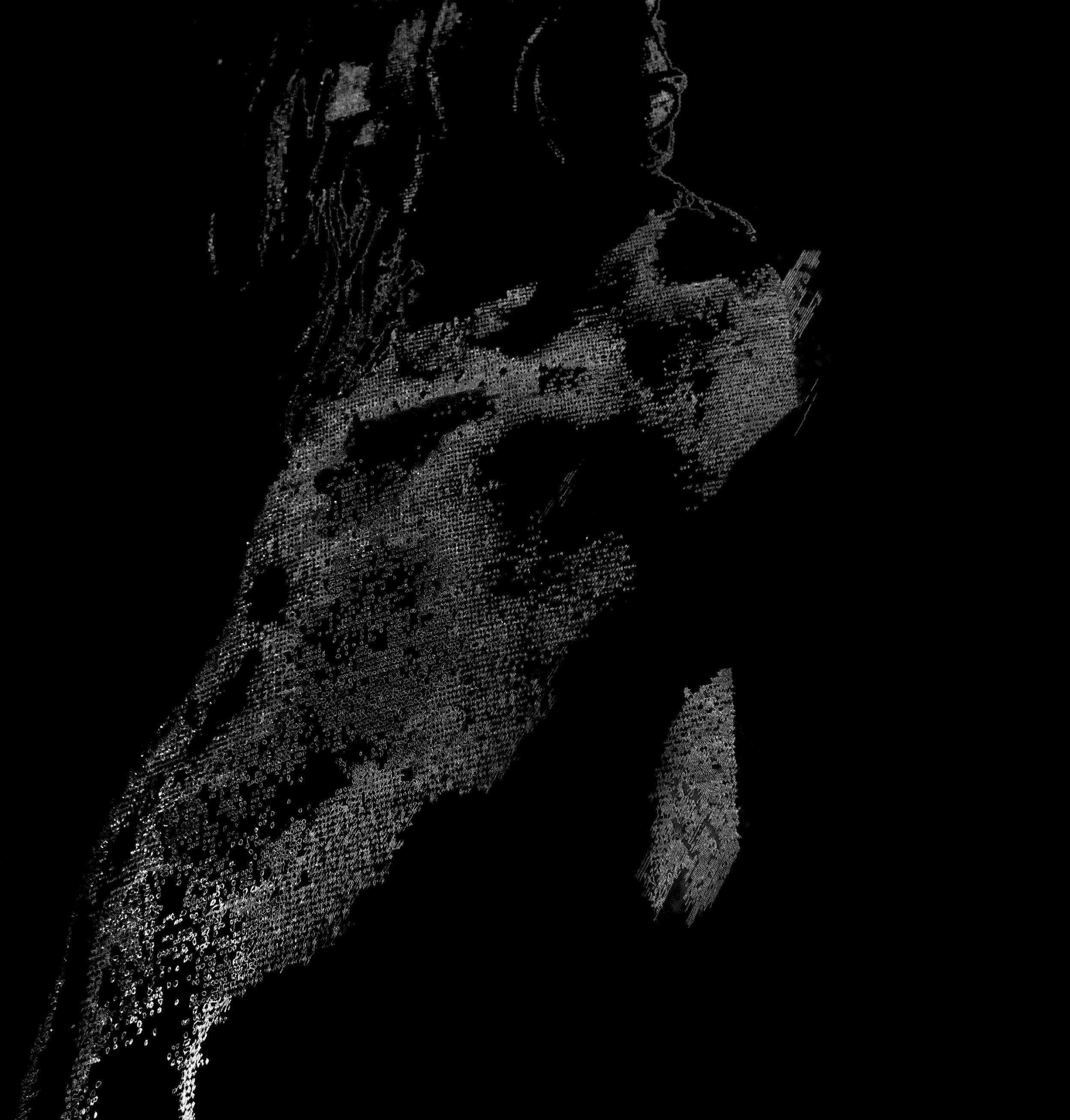 Drawing + Light #5 black, 2017   Japanese shoji paper, light  200 cm x 84 cm