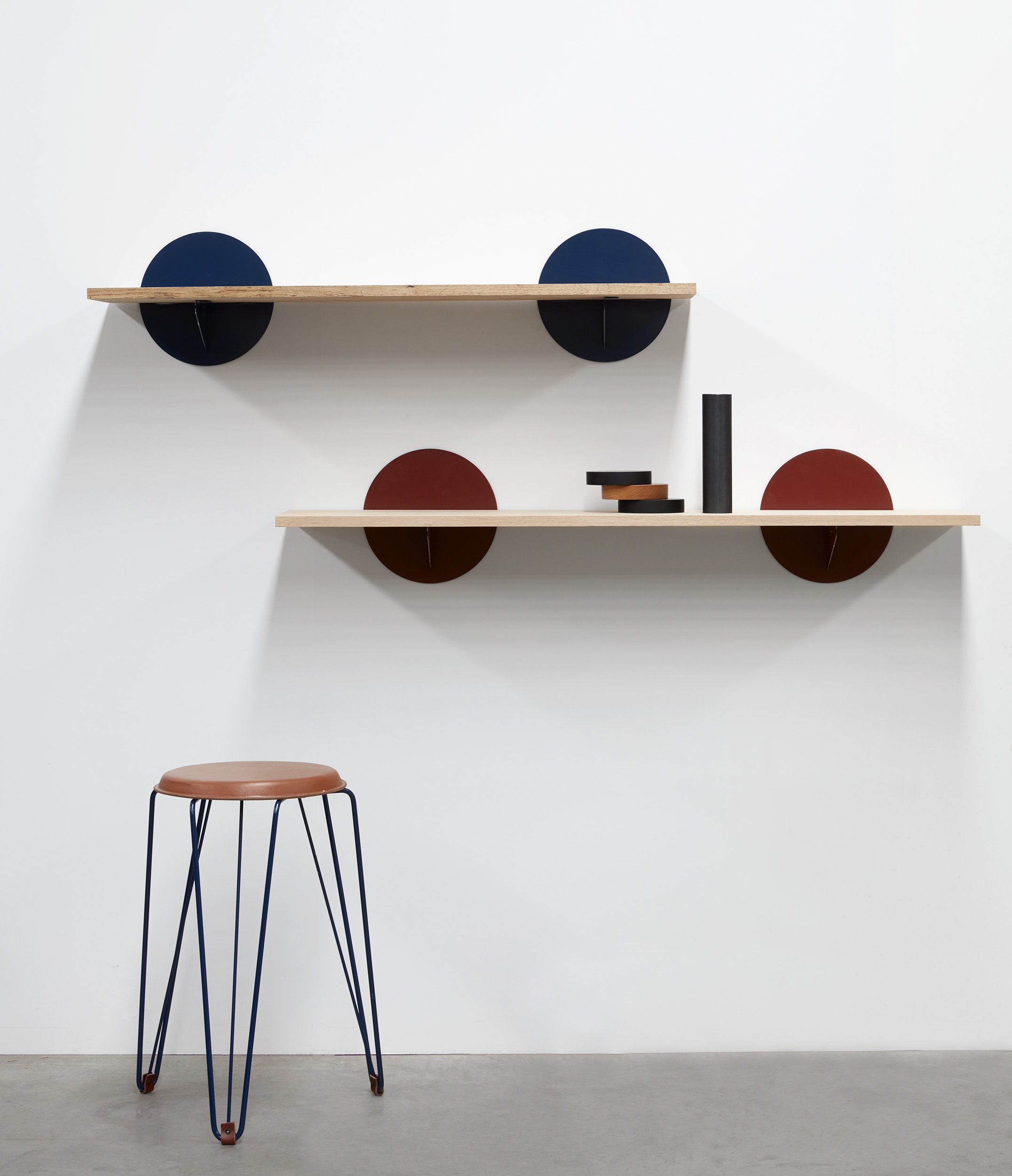 Statement shelving with Rex stool in leather