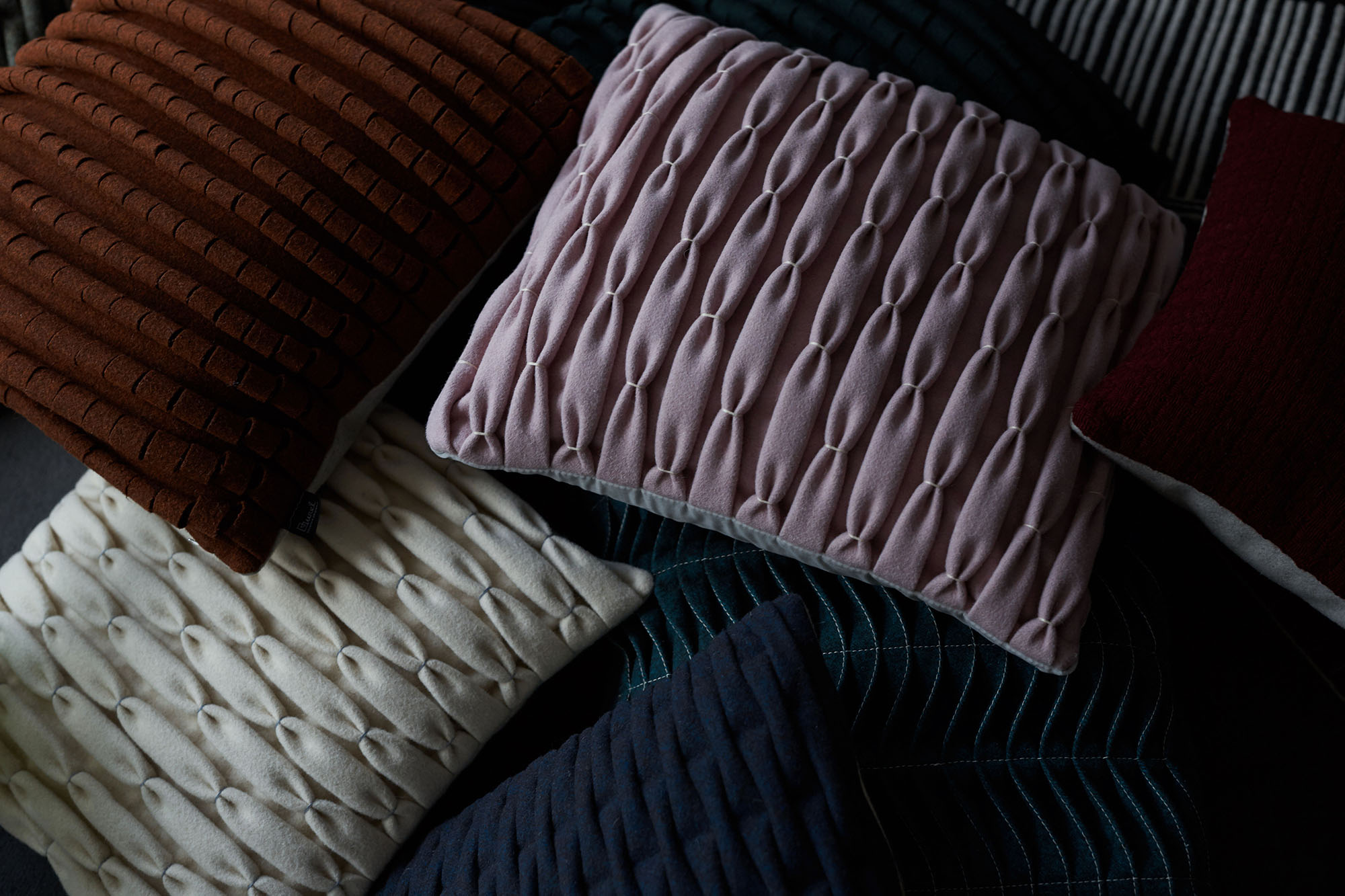 Figgoscope Curates burel fabric cushions Photographer: Jonathon Griggs