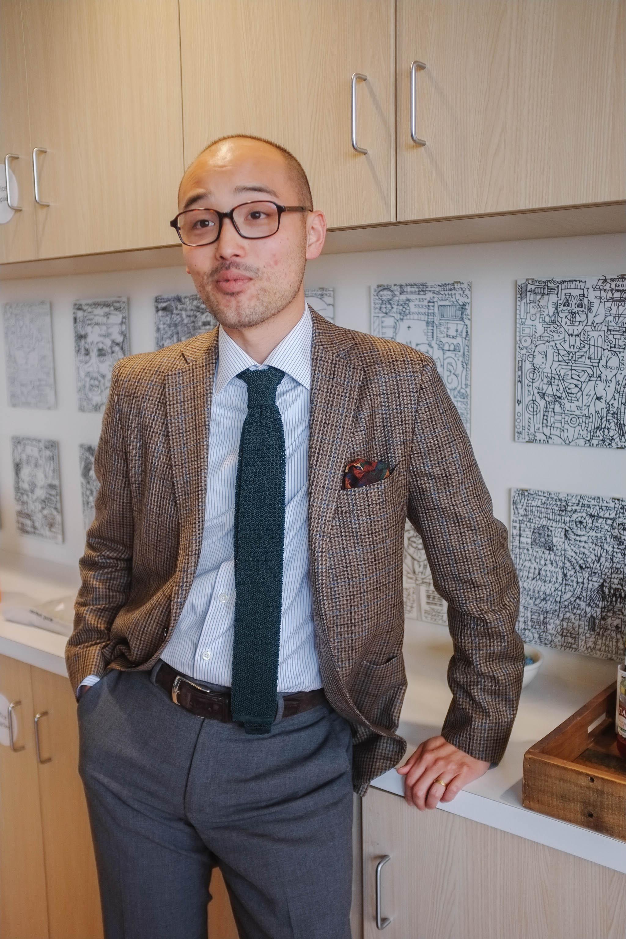 Glasses -   JINS   Sports coat - Epaulet   Shirt - Proper Cloth   Tie and Pocket Square - Drake's of London   Belt - Carmina Shoemaker   Trousers - Epaulet