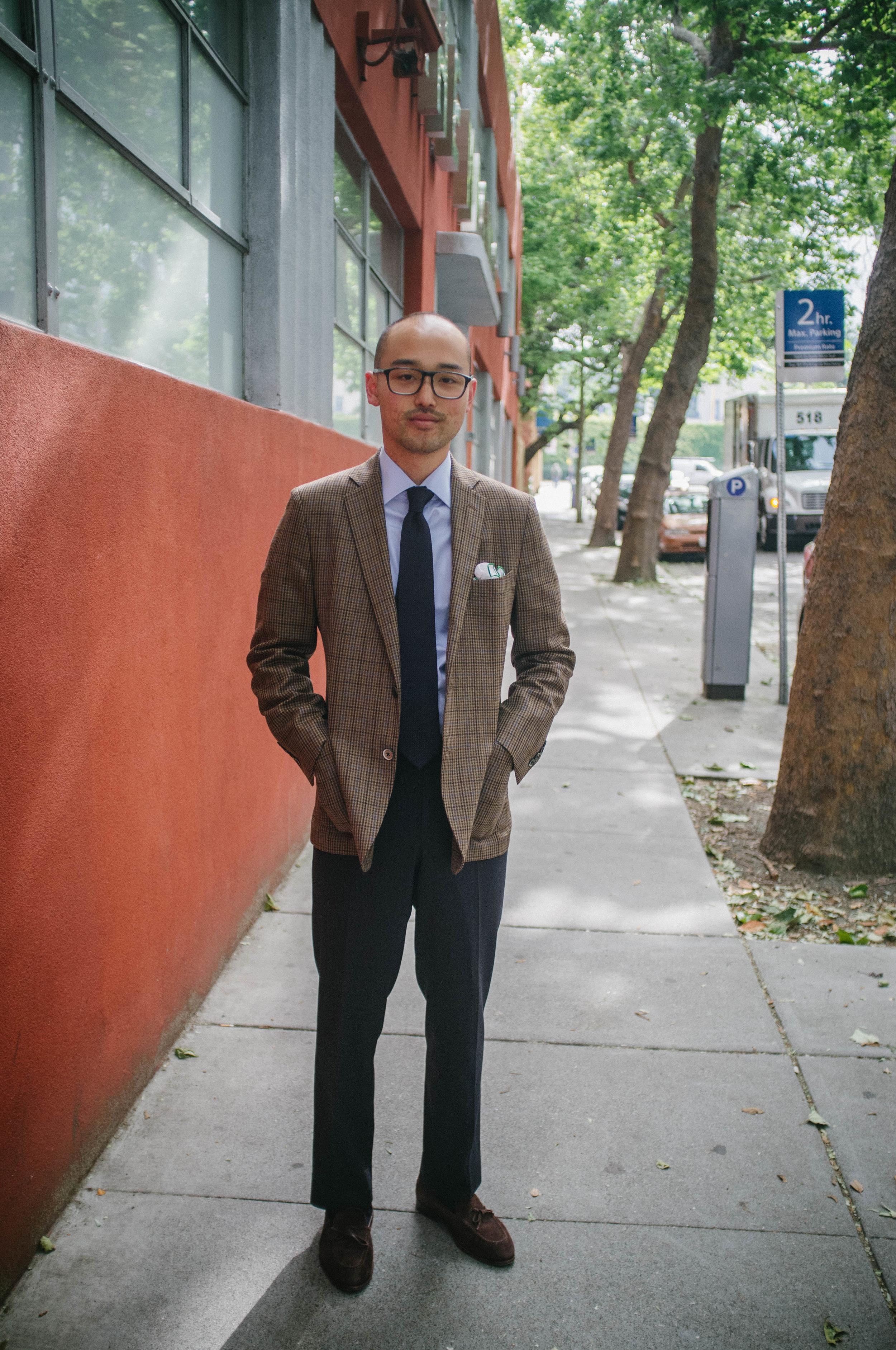 Glasses -    Barton Perreira    | Sports coat - Epaulet | Shirt -    Proper Cloth    | Tie - Drake's of London | Pocket Square - Vintage | Trousers - Epaulet | Shoes -    Carmina Shoemaker