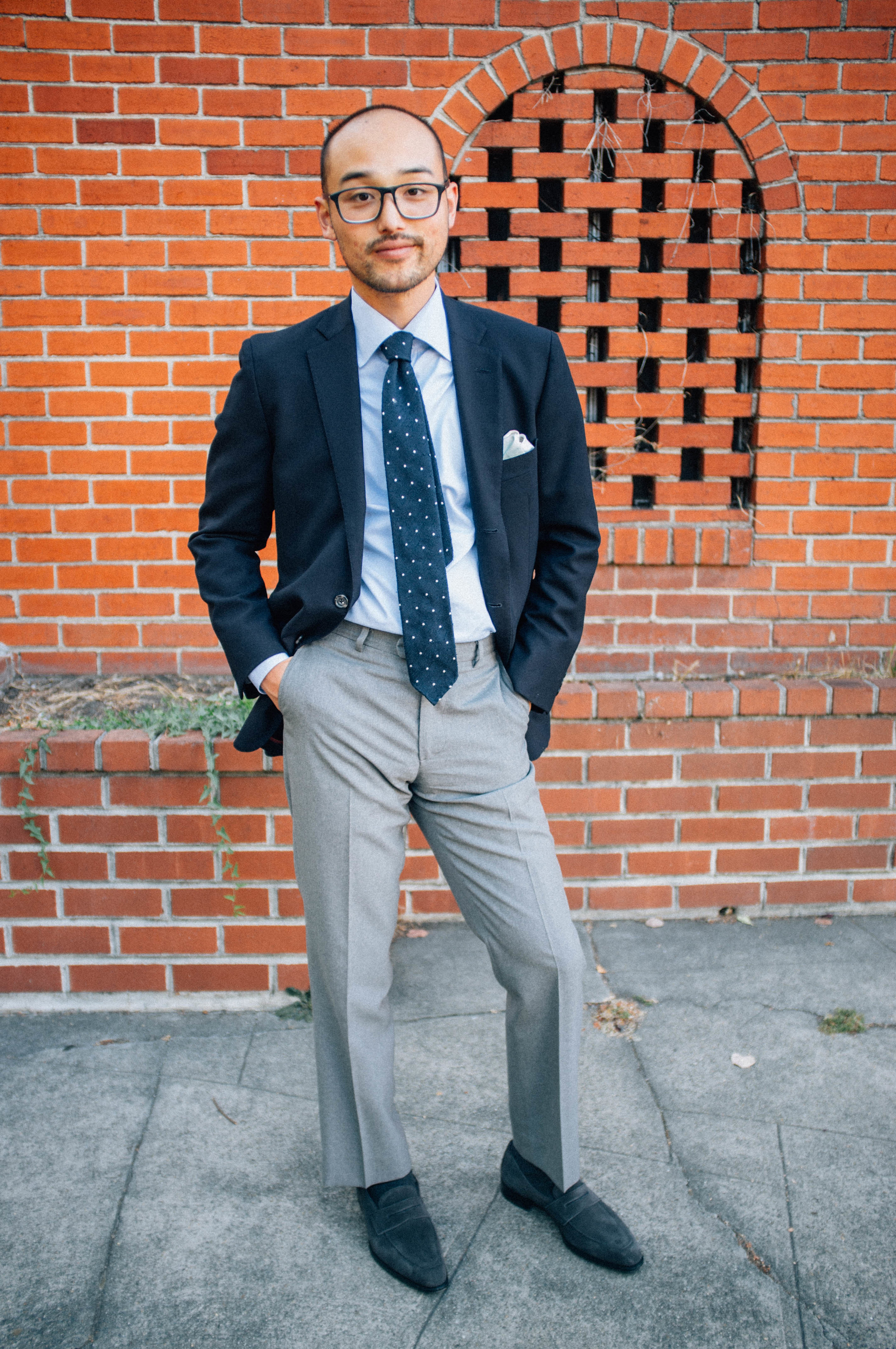 Glasses - Barton Perreira | Sports Coat - Epaulet | Shirt - Proper Cloth | Tie - Drake's London | Pocket Square - Rubinacci | Trousers - Epaulet | Shoes - Kingsman by George Cleverley