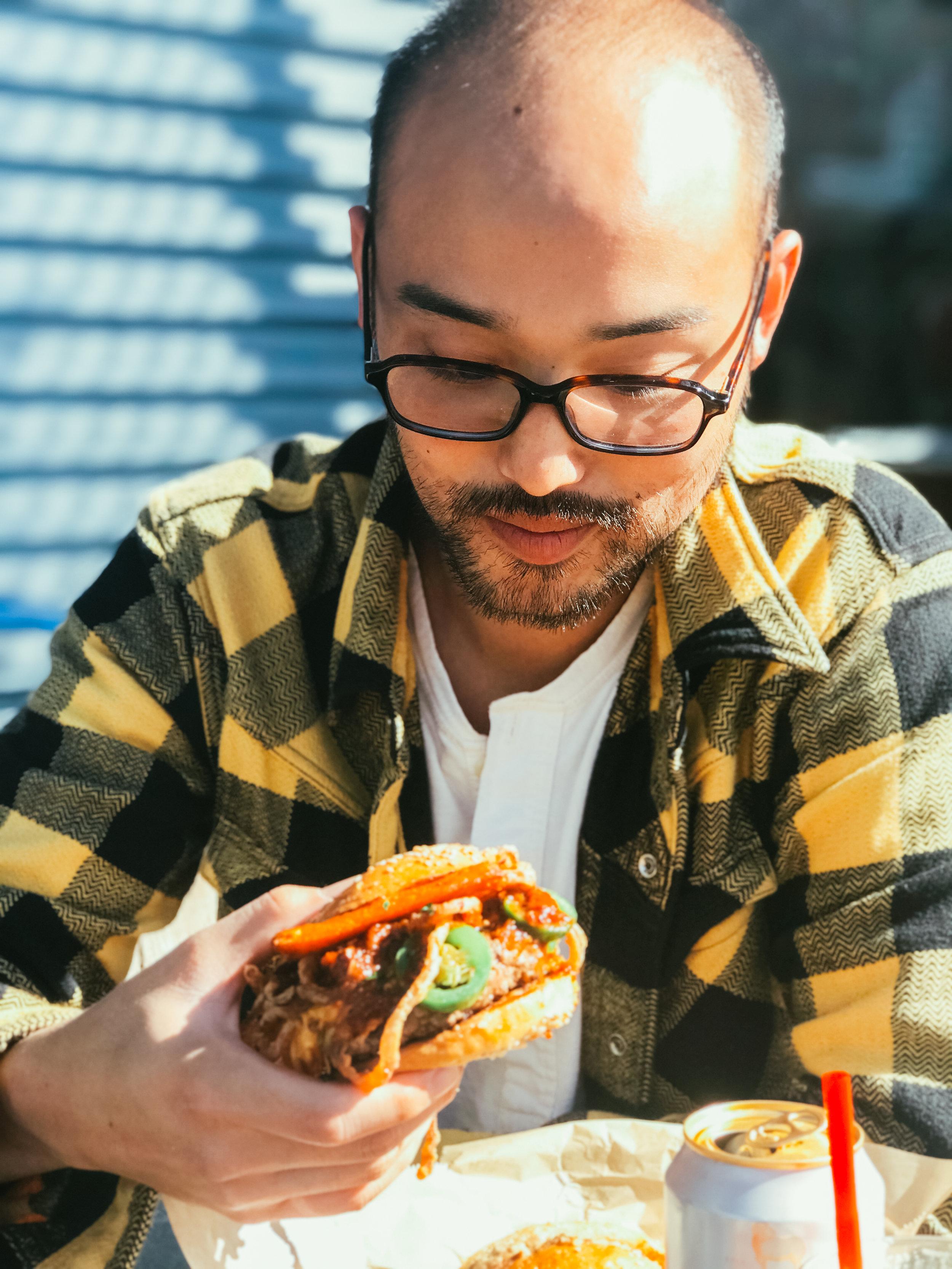 I'm always eating.  Glasses - JINS | Shirt - The Flat Head | Henley - Homespun Knitwear