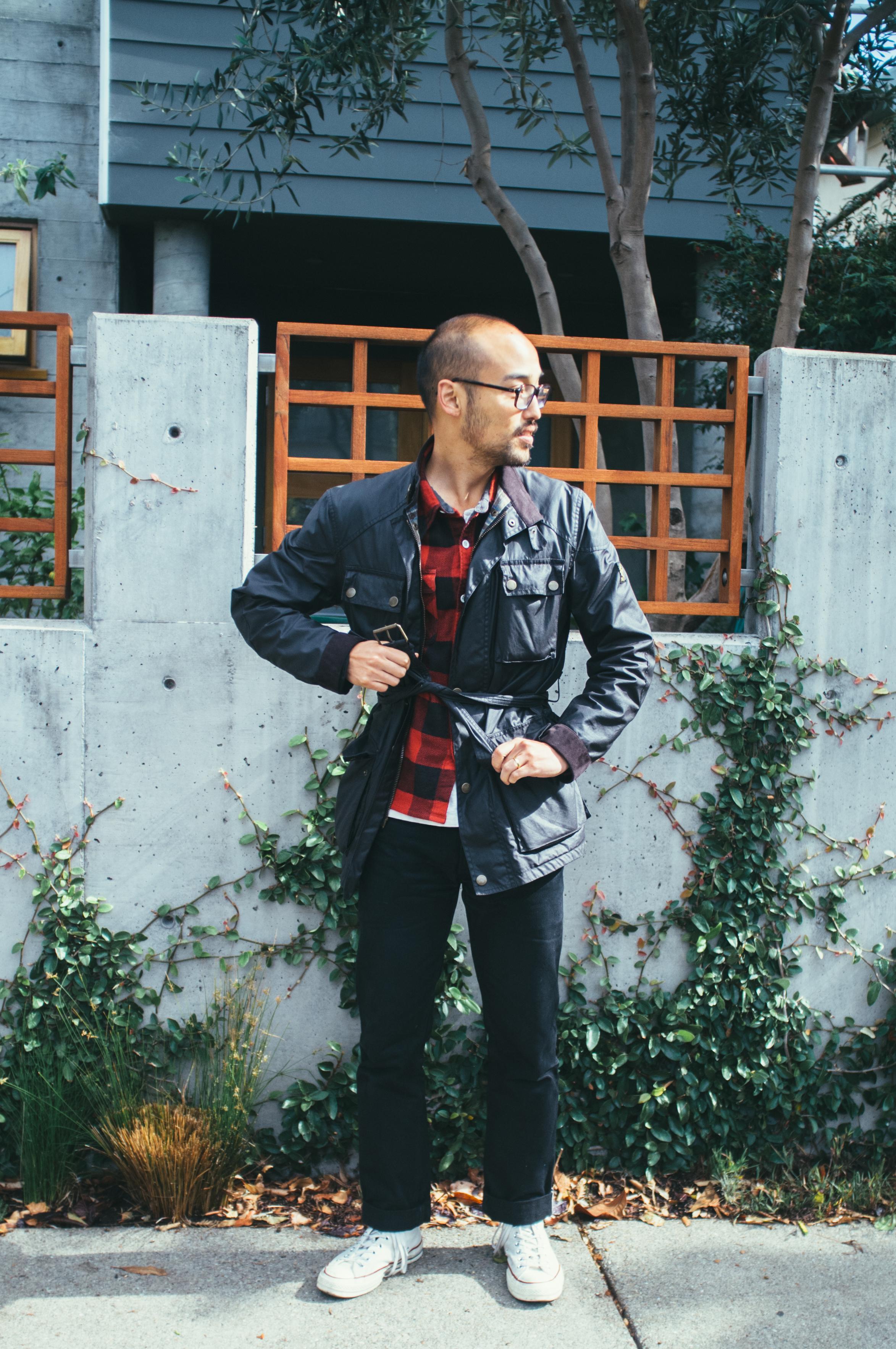 Glasses - JINS | Jacket -  Belstaff  | Shirt - The Flat Head | Henley - Levi's Vintage Clothing | Jeans -  3Sixteen  | Shoes -  Converse