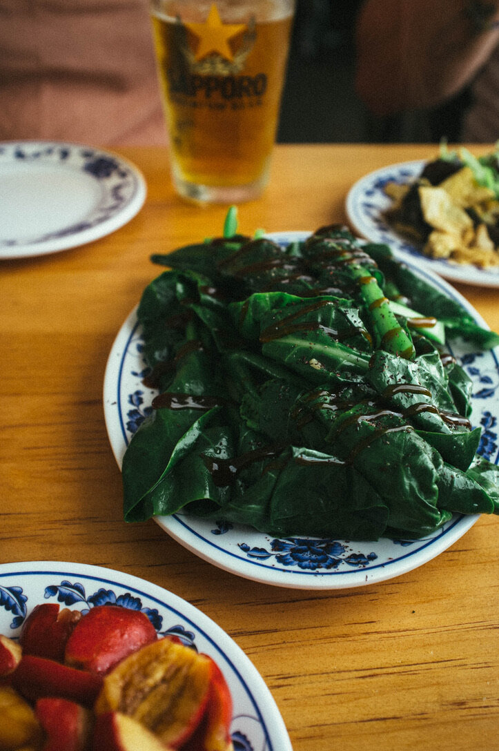 Gai lan with oyster sauce and shiso seasoning