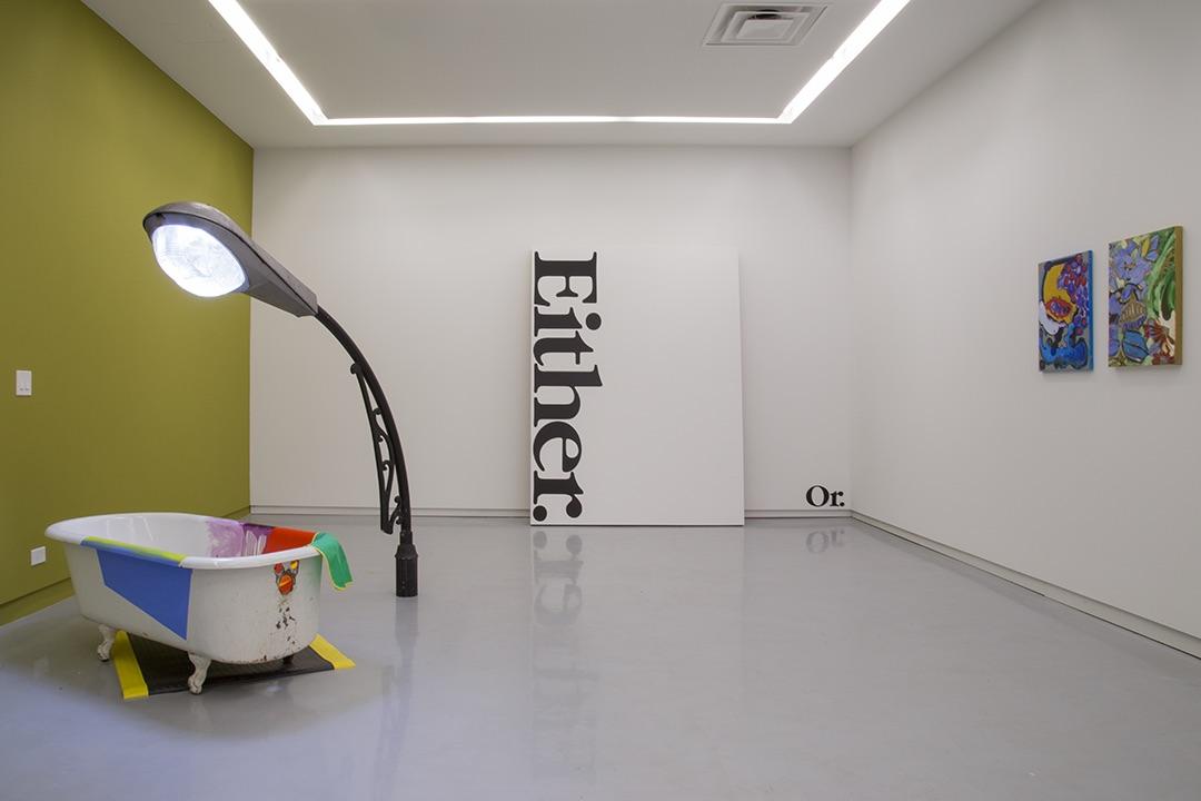 ASSISTED,  Installation view, left to right:Jessica Stockholder, Haim Steinbach, Patrick Chamberlain. Courtesy of Kavi Gupta Gallery