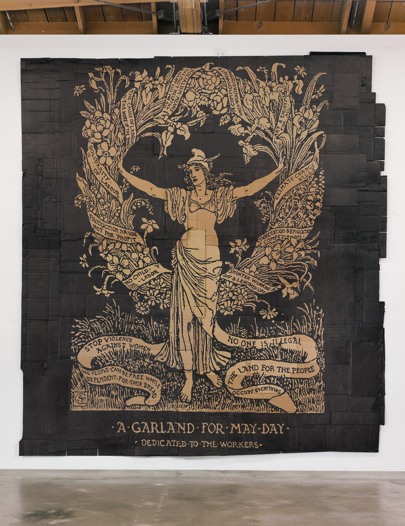 """Andrea Bowers  ,  A Garland for May Day (Illustration by Walter Crane)  , 2012, Marker on found cardboard, 156"""" H x 140"""" W (396.24 cm H x 355.6 cm W), Gallery Inventory #BOW353; Courtesy of Susanne Vielmetter Los Angeles Projects; Photo: Robert Wedemeyer"""