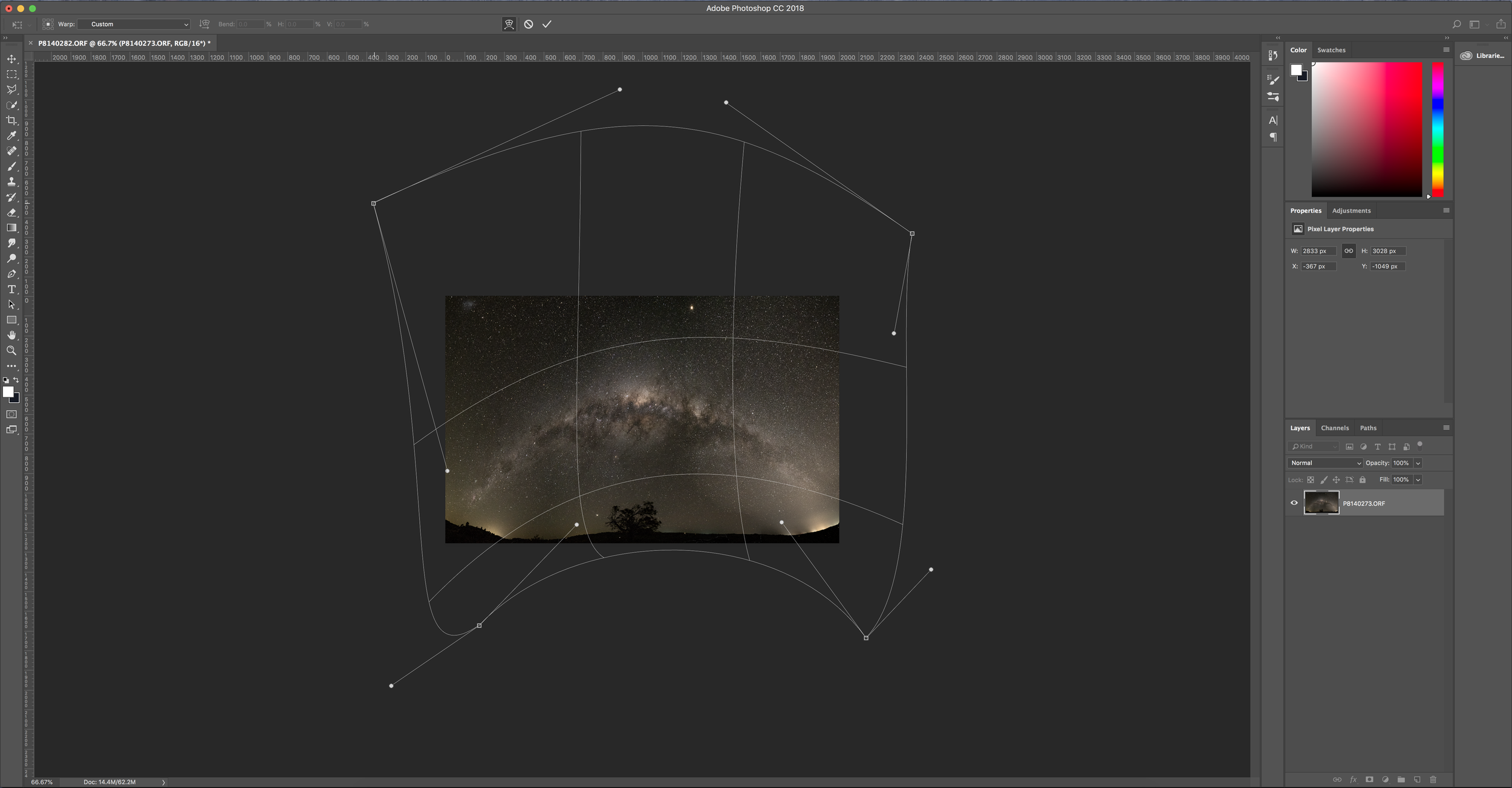 Using the Warp adjustment tool to reshape the panoramic in Adobe Photoshop