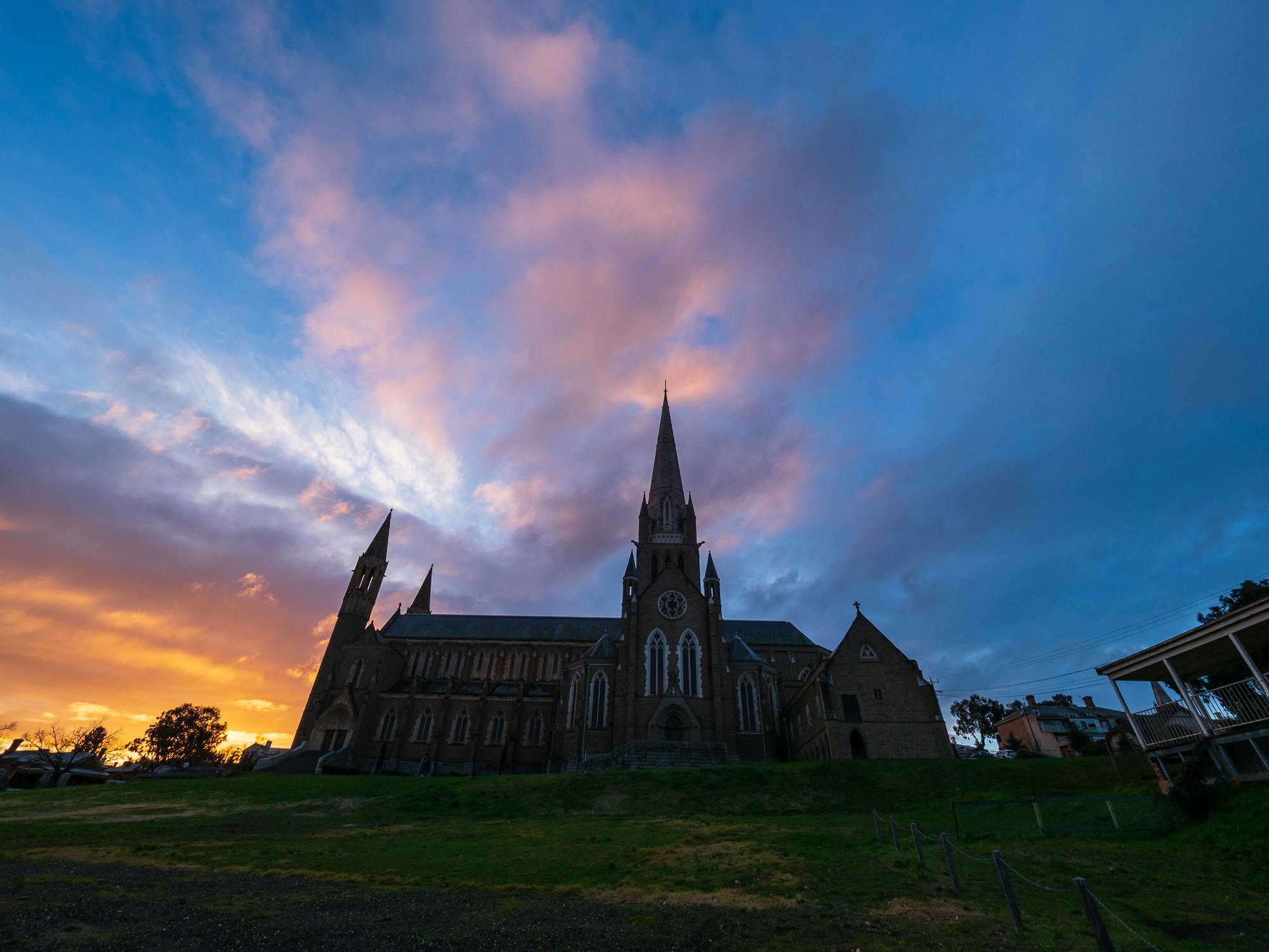 Shot a little earlier than the photo above, will have to shoot another time of year to get the sunet more behind the cathedral.