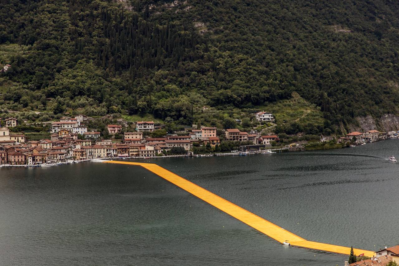During the life-size test at Montecolino, Christo smiled as the piers undulated with the movement of the waves, Lake Iseo, October 2015  WOLFGANG VOLZ