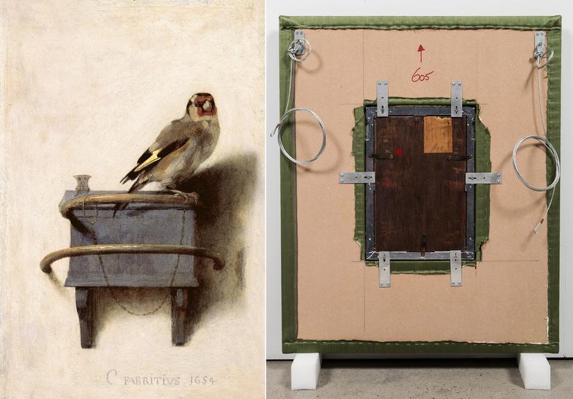 Carel Fabritius' 'The Goldfinch,' 1654, left, and Vik Muniz's 'Verso (The Goldfinch),' 2016. PHOTO: MAURITSHUIS, THE HAGUE; VIK MUNIZ