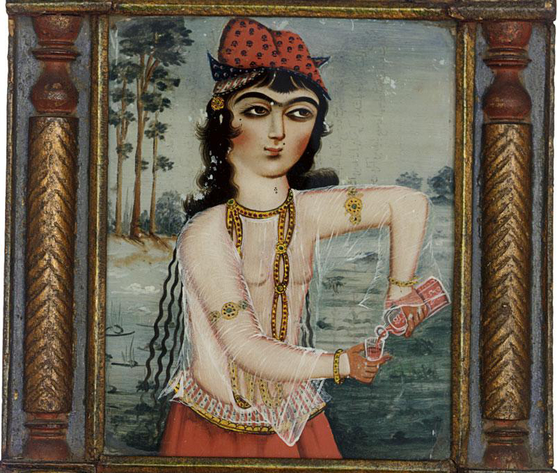 A detail of a 19th century reverse glass painting of a harem girl (courtesy Sotheby's)