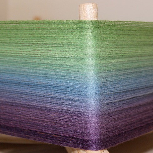 Colour by me/tres/ Forest Fairy, still on the dyeing frame.