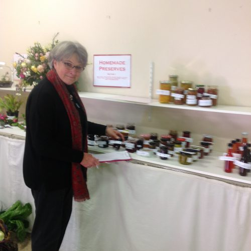 My lovely friend Sue judging the jams