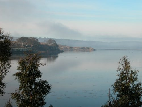 A most unusual photo of Oatland's Lake Dulverton: full of water, and without a breath of wind on Sunday mid-morning.