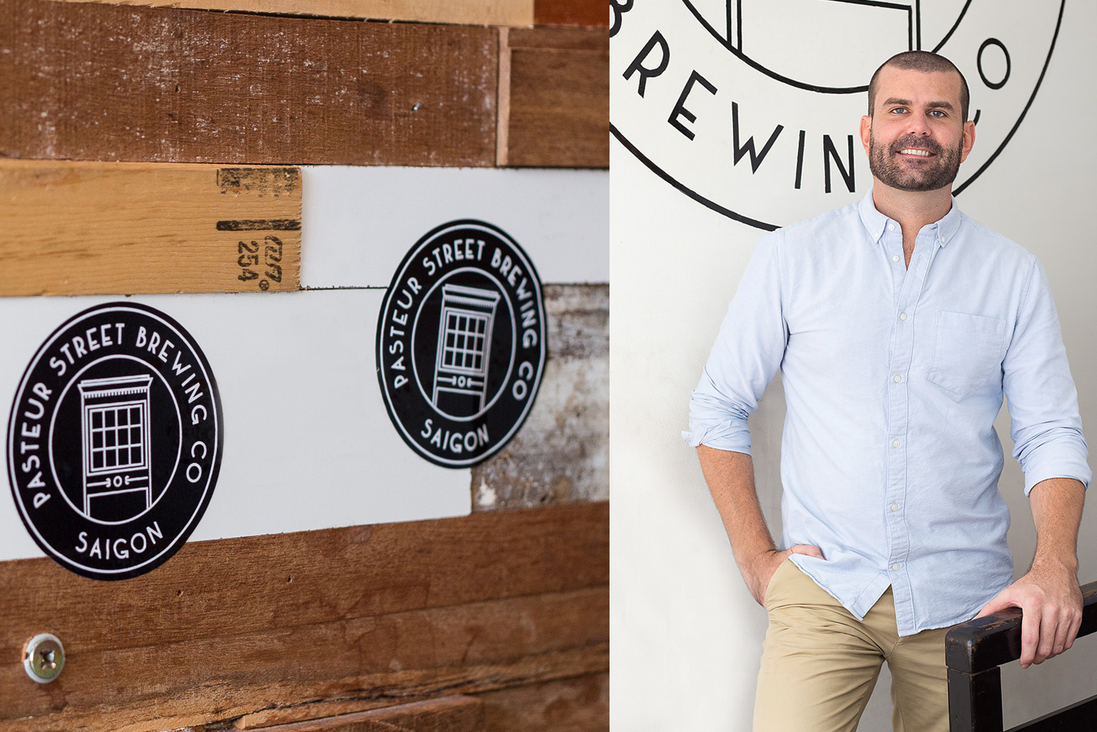 Left: the Pasteur Street Brewing Company logo.Right: Pasteur Street's 32-year-old American founder, John Reid.