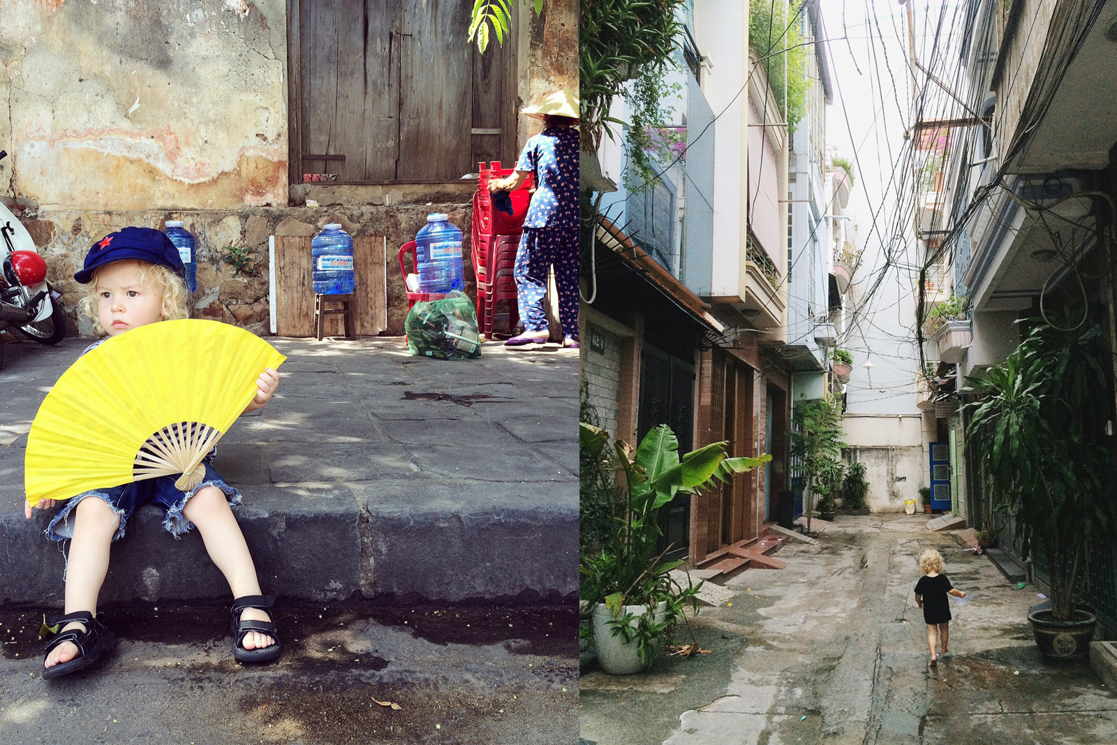 Our blonde-locked youngest, Alby, creating interest for the locals wherever he goes. Here he is in the streets of Hoi An and Ho Chi Minh City, respectively.