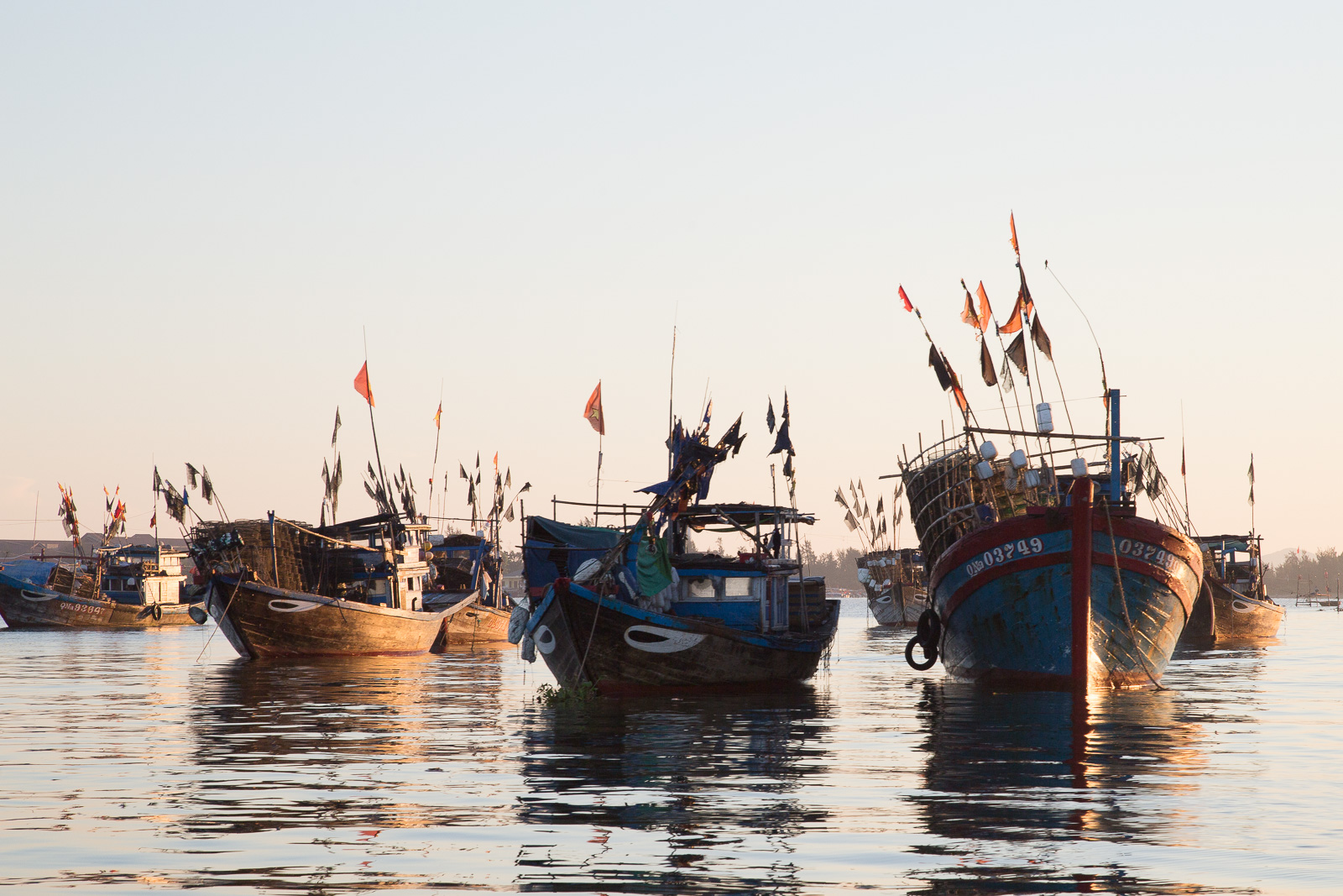 Many boats in Vietnam have two stylised eyes painted on either side of the bow.