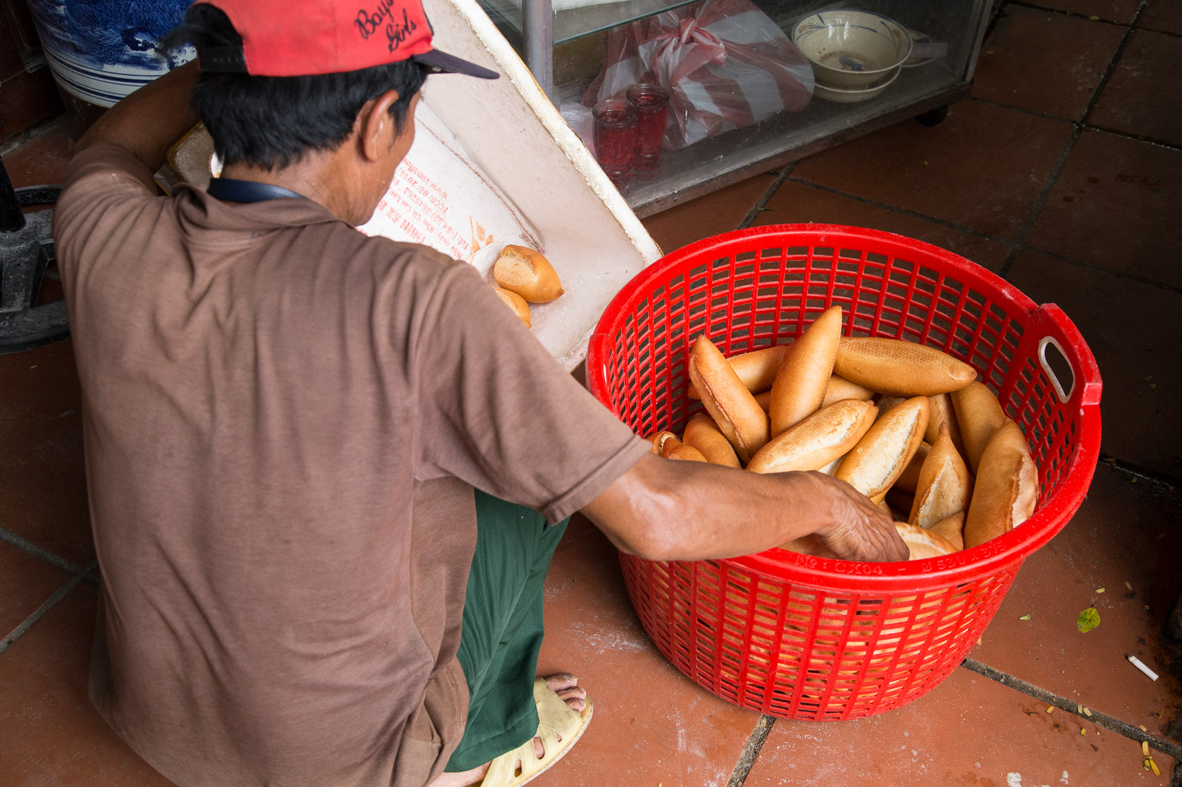 A bakery is almost directly next door to Madam Puong.