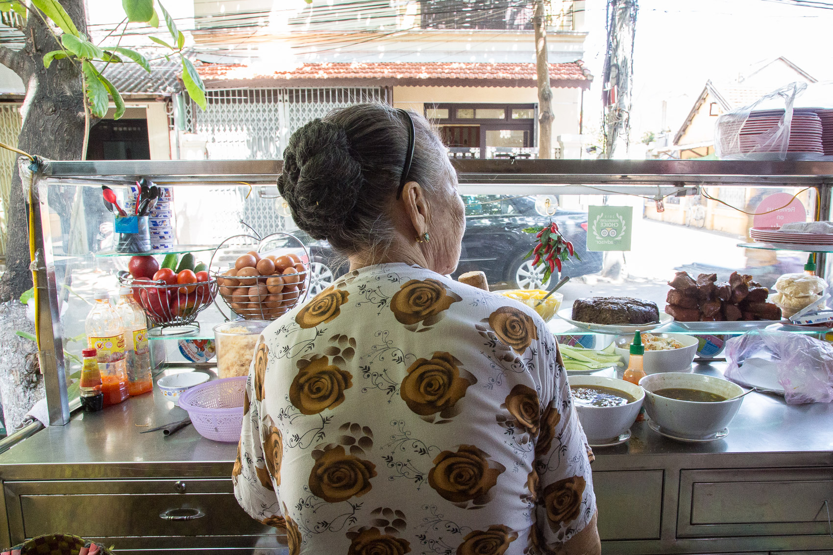 Madam Khanh generally serves in the mornings and naps in the afternoons, when her family takes over.