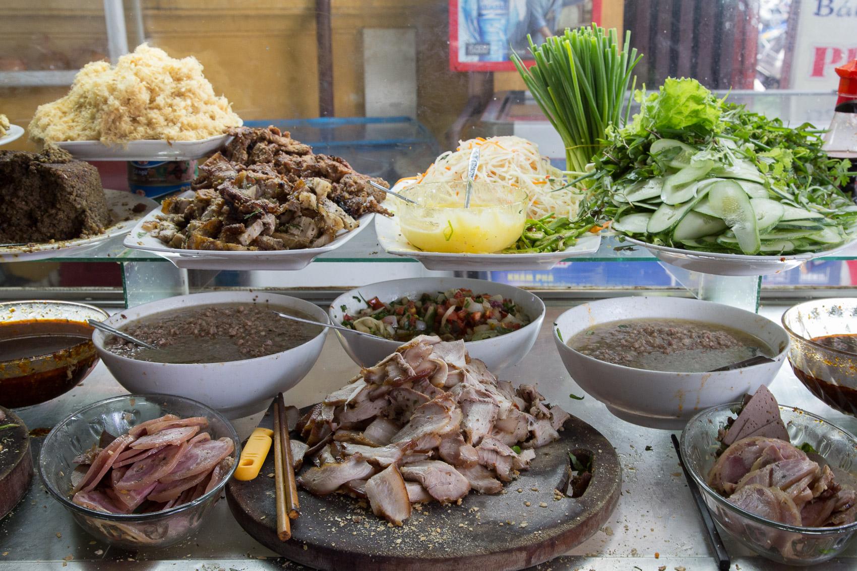Banh mi ingredients at Madam Phuong's business.